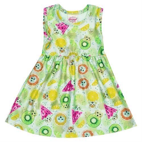 Vestido Bebê Abrange Cachorro e Frutinhas Verde BP