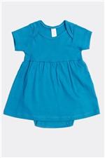Vestido Body Mg Curta Ribana M - Azul Turquesa