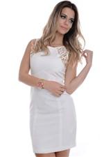 Vestido Branco com Courino