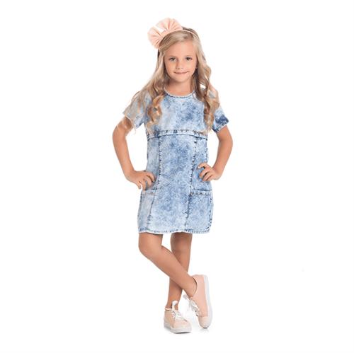 Vestido Cata-Vento Infantil Jeans Escuro 06