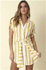 Vestido Chemisier Listras - Amarelo Tamanho: M