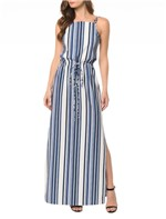 Vestido CKJ Longo Blue Stripes - 36