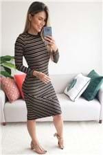 Vestido Colcci Listras Marrom - Preto