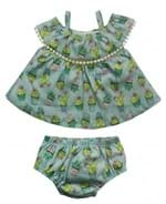 Vestido com Cobre Fralda Infantil Grow Up Menina em Algodão Ilha dos Cactos