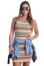 Vestido com Estampa Tribal