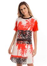 Vestido Crepe Estampa Coqueiros - Laranja C/ Off e Preto Tropical P