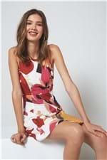 Vestido Curto Amarração Est Floral Color Est Floral Color Off White - M