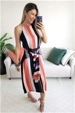 Vestido Curto Babadotop Assimétrico Stripes - Multicolorido