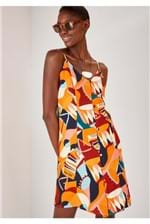 Vestido Curto Cantão Alças Estampa Banda - Multicolorido