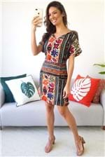 Vestido Curto Cantão Estampa Zambia - Multicolorido