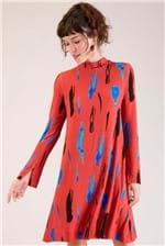 Vestido Curto Cantão Gola Alta Gestos Manga Longa - Vermelho