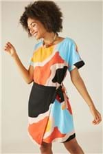 Vestido Curto Cantão Pareo Estampa Continentes Laranja - Multicolorido