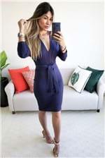 Vestido Curto Colcci Decote V Manga Longa - Azul