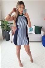 Vestido Curto Colcci Trico Listrado - Azul