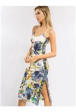 Vestido Curto de Malha com Fenda Flower Bird Vestido Curto de Malha com Fenda Estampa Flower Bi - 38