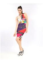 Vestido Curto de Malha Estampa Sport Patchwork - 38