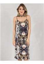 Vestido Curto de Veludo e Tule Snake Floral 38