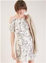 Vestido Curto Estampa Retrato Branco G