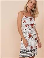 Vestido Curto Floral e Barrado Janna Branco / P