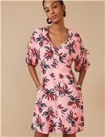 Vestido Curto Floral Glacê Rosa / P