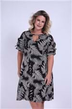 Vestido Curto Folhagem Plus Size Preto G