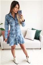 Vestido Curto Lança Perfume Jeans Comfort com Babados Xadrez Branco - Azul