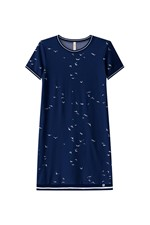 Vestido Curto Lunender Malha Cotton Azul Tam. PP
