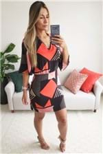 Vestido Curto Mob Estampa Geometric Colors - Preto