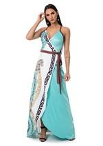 Vestido de Cetim Longo Transpassado - Acqua C/ Off Mandala e Onca M
