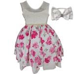 Vestido de Festa Floral Infantil Luxo com Tiara