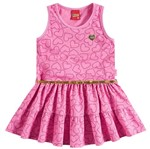 Vestido de Menina com Cinto Corações Rosa - Kyly 2