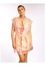 Vestido de Tule Bordado de Paetê - 38