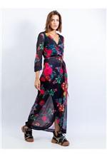Vestido de Tule com Amarração Estampa Floral Flúor - 38