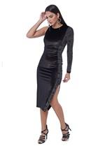 Vestido de Veludo Midi Assimétrico