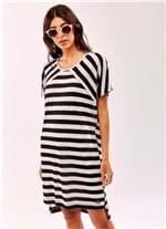 Vestido Degrau Listra Viscotrico Branco/preto M