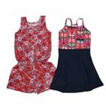 Vestido e Macaquinho Infantil Kit com 2 Unidades Laranja e Pink-8