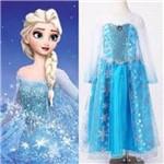 Vestido Elsa Rainha da Neve Frozen Azul Claro com Capa