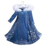 Vestido Elsa Rainha da Neve Frozen com Gola