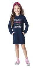 Vestido em Moletom Bordado Menina Malwee Kids Azul Escuro - 4