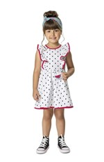 Vestido Evasê Babados Menina Branco - 1