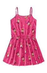 Vestido Evasê Barbie® Menina Malwee Kids Rosa Claro - 6