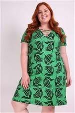 Vestido Evasê Estampado Plus Size Verde P