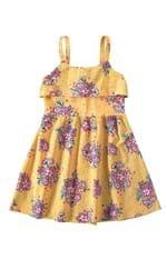 Vestido Evasê Franzidos Menina Malwee Kids Amarelo - 8