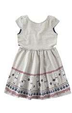 Vestido Evasê Malha Listrada Menina Malwee Kids Bege - 6