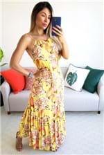 Vestido Farm Longo Chita Caju Amarelo