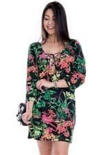 Vestido Feminino Floral Amplo com Decote Trançado VE1646 - Kam Bess