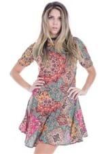 Vestido Feminino Floral de Manga Curta VE1492 - Kam Bess