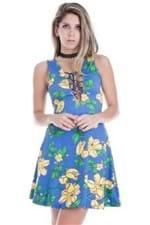 Vestido Feminino Godê Flowers com Transpasse VE1647 - Kam Bess