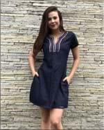 Vestido Feminino Jeans Moda Evangélica - Jeans 7339