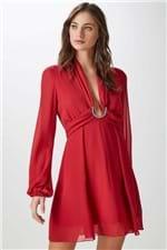 Vestido Fivela Strass Vermelho - 36